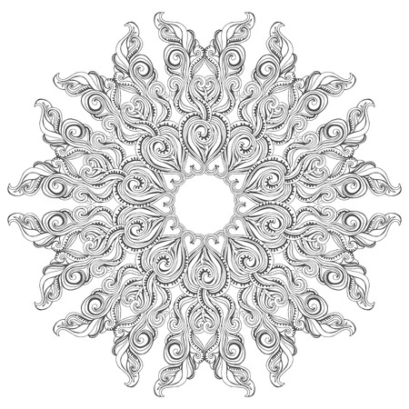 color pages: Mandala vector card on white background. Coloring book page design for adults and kids. Children and animals. Black and white.