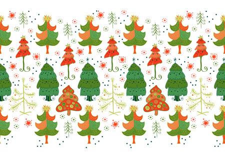 varied: Christmas pattern - varied Xmas trees and snowflakes.