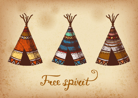 Set of 3 colored hand drawing ink traditional indian wigwams. Elements in native style for greeting card and postcard, henna and tattoo design.