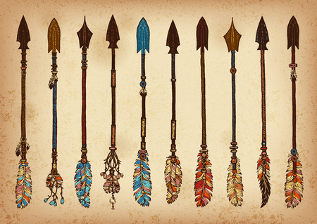 Set of 10 colored hand drawing ink traditional indian arrow. Elements in native style for greeting card and postcard, henna and tattoo design.