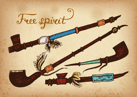 peace pipe: Set of 4 colored hand drawing ink traditional indian smoking pipe of peace. Elements in native style for greeting card and postcard, henna and tattoo design.