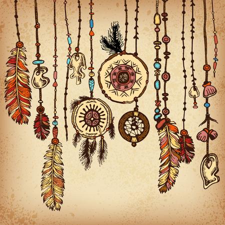 Etnische achtergrond in inheemse stijl. Grenzen met veren en streep. Tribal thema Vector Illustratie