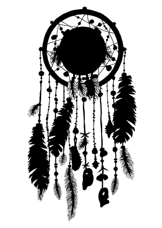 talisman: Hand drawn dreamcatchers with beads and feathers. Decorative boho style elements for design. Native american ethnic tribal talisman. Vector art