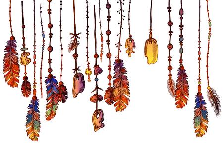 Frontière sans couture de plumes et de cristaux ornés