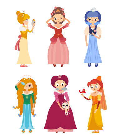 Collection of 6 beautiful princesses in different poses
