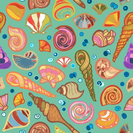 sketched: Colorful sketched kid seamless seashell pattern