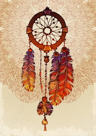 americas: Native american indian traditional dream catcher Illustration