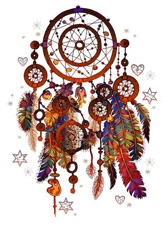 Hand drawn ornate Dreamcatcher with gemstones.