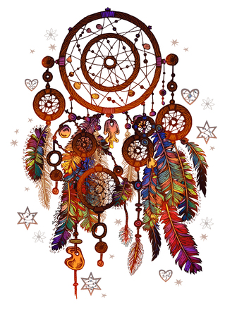 Hand drawn ornate Dreamcatcher with gemstones.