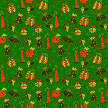 Green seamless pattern with doodle gift boxes