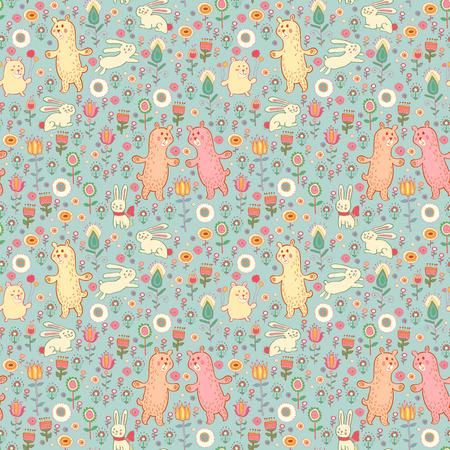 Ostern gentle rabbit and bear pattern