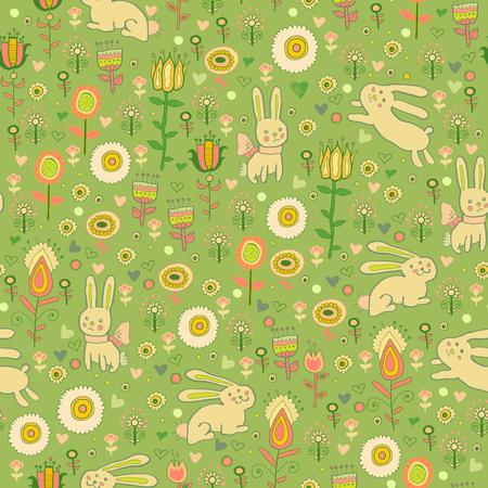 Ostern gentle rabbit seamless pattern Illustration