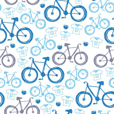 velocipede: Seamless blue velocipede pattern Illustration