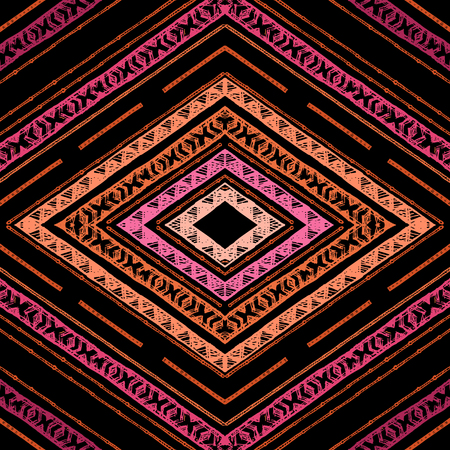 swooshes: Stripes bright tribal seamless pattern with zigzag