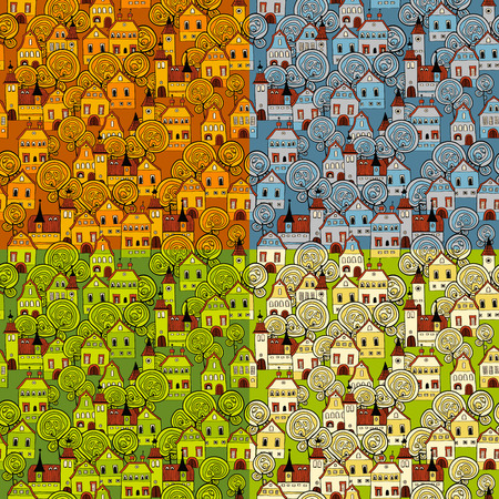 Seamless pattern 4 seasons in the city