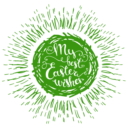 ostern: Hand drawn isolated green Easter eggs nest with text and sunburst on a white background.