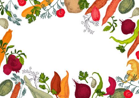 Colors vegetables frame with healthy food Illustration