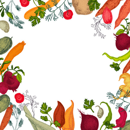 Colors vegetables frame with healthy food Ilustração