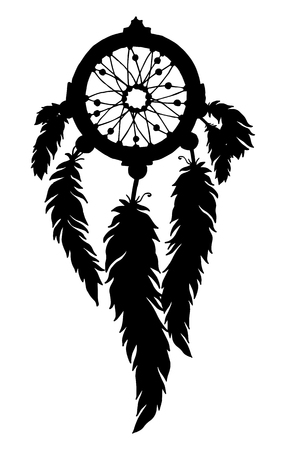 shamanic: Dream catcher silhouette with feathers and beads