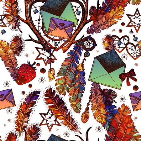 Envelopes romance seamless pattern Illustration