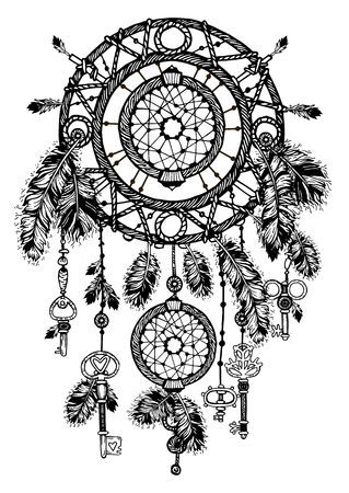 Vintage detailed dreamcatcher with feathers  イラスト・ベクター素材