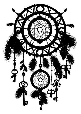 Native american ethnic dreamcatcher silhouette with beads and feathers. Tribal talisman. Vector art Illustration