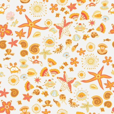Doodle kids sea animals seamless pattern Illustration