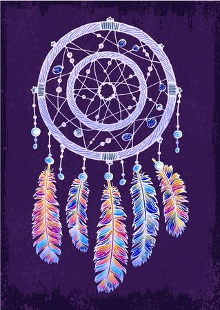 Colorfull dreamcatcher on the violet background Illustration