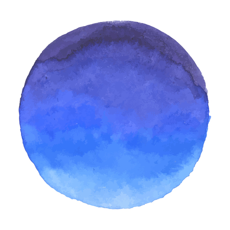 Bright dark blue vector watercolor banner blot