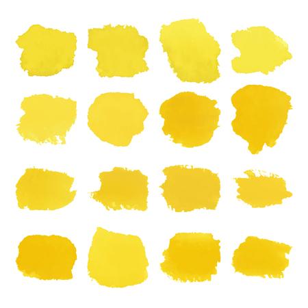 Yellow blots watercolor set Illustration