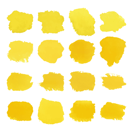 Yellow blots watercolor set Ilustrace