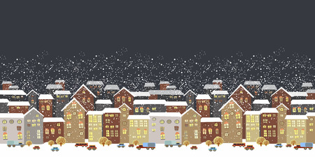 Winter Christmas landscape with fairy tale houses. Illustration