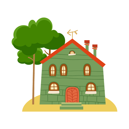 One of set of cute cartoon houses in childlike style. Sweet home. Illustration