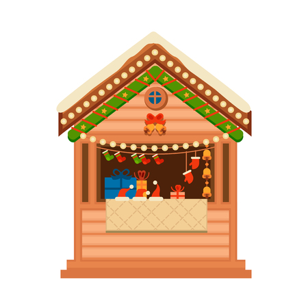 Christmas wooden souvenir kiosk illustration.