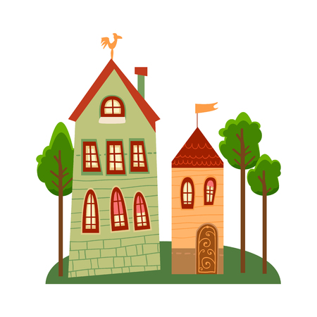 One of set of cute cartoon houses in child style.