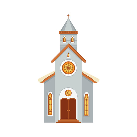 Church flat icon covered with snow. Illustration
