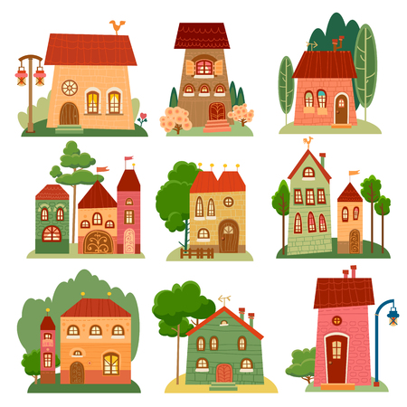 Collection of cute cartoon houses in childlike style. Sweet home Stock Illustratie