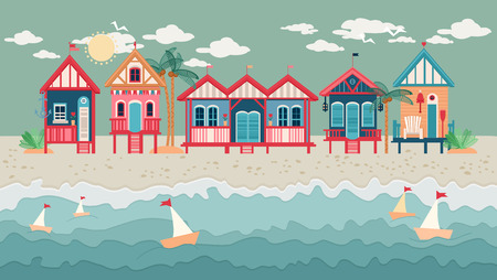 Landscape with Beach Huts.