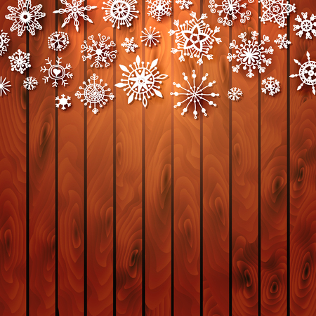 Christmas Wood Background with snowflake