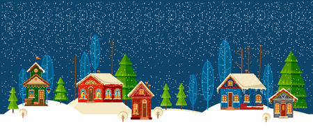 Winter urban landscape. Christmas and new year. Illustration