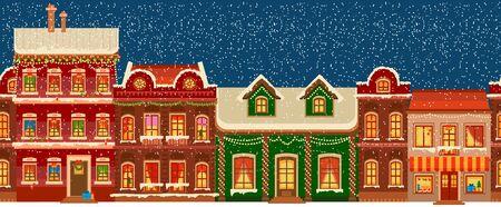 City silhouettes Christmas Panorama. Midtown