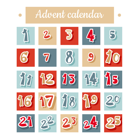 Christmas Advent calendar in Red, Blue and White.
