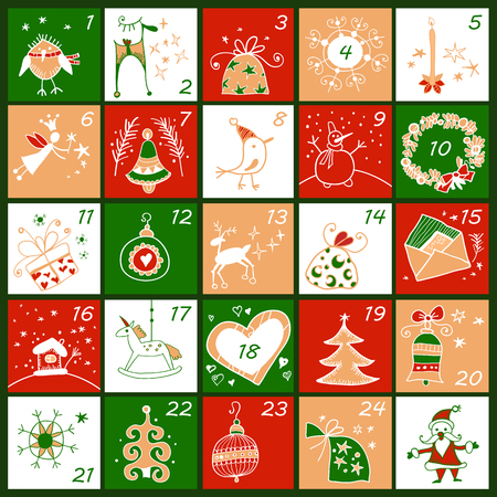 Advent calendar. Christmas childish poster