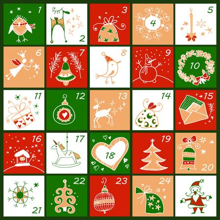 Advent calendar. Christmas childish poster Ilustração Vetorial