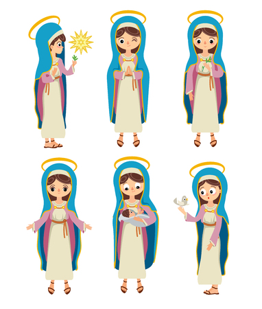 Set of Virgin Mary. Holy Mary. Saint Mary. The Mother of God. In different poses. In prayer. With an infant, with a laurel, with a dove, with a star