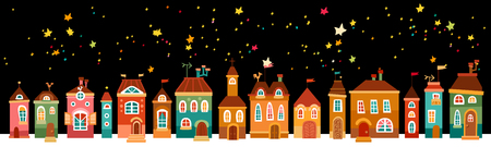 Christmas landscape night with the houses Vector illustration. Illustration