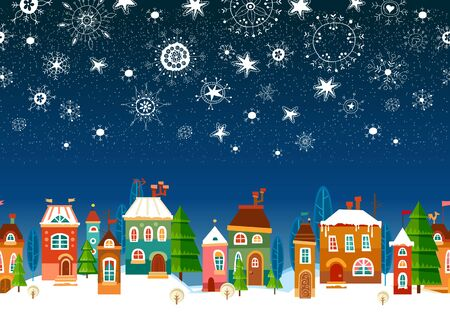 Winter urban landscape. Christmas and new year. Vector illustration.
