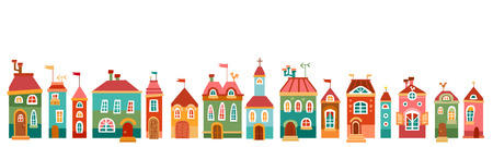 Background with multi-colored cute house in children style. Vector illustration. Horizontal border Illustration