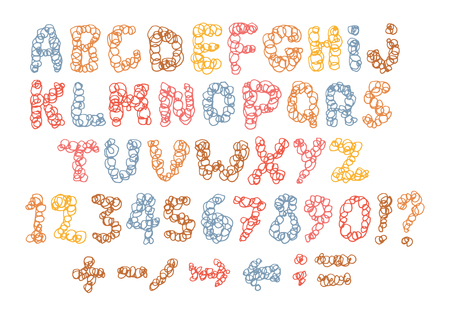 Sketch childish alphabet with cartoon letters Stock Illustratie