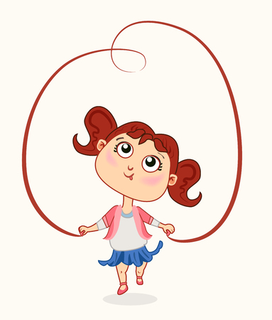 Animation character of cute baby girl with jump rope vector illustration